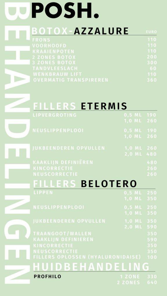 Botox en filler prijzen Den Haag en Leiden